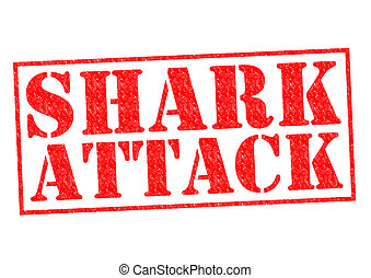 SHARK ATTACK red Rubber Stamp over a white background.