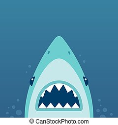 Shark attack illustration - Shark with open jaws and sharp...