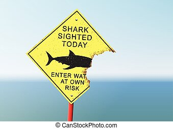 Shark attack panel - Vector illustration of an security...