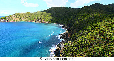 View of the beautiful Shark Bay National Park of Tortola - BVI.