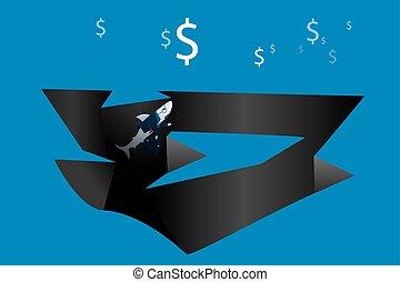 Shark businessman business concept.