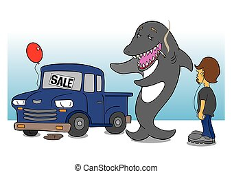 Shark Car Salesman - Smoking shark car salesman is trying to...