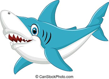 Big scary shark jump out of water  vector flat cartoon