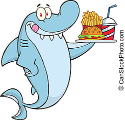 Shark Character Holding A Plate