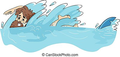 Illustration Featuring a Male Castaway Being Chased by a Shark
