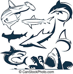Shark Collection - Clip art collection of various types of...