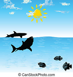 shark color cartoon art vector