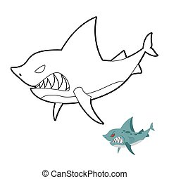 Coloring book shark underwater. A black and white outline image of a ...