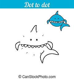 Shark. Coloring - game by numbers. Connect the dots. Educational card for preschoolers. Sea page with funny cartoon character. With an example.