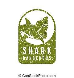 Shark dangerous emblem
