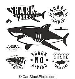 Shark dangerous emblems
