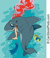 Shark devouring a man - Vector illustration of a shark ...