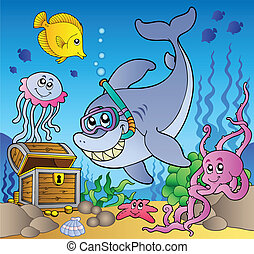 Shark diver with treasure chest