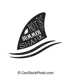 Shark Fin Above The Wave Summer Surf Club Black And White...