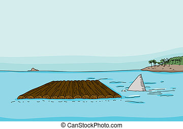 Shark Fin and Raft - Shark fin behind empty wooden raft in...