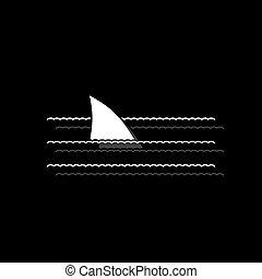 Shark Fin icon flat