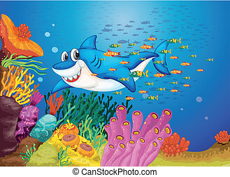 shark fish - illustration of shark fish in deep blue sea