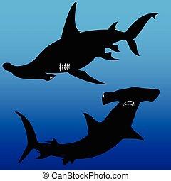 shark hammer vector silhouettes