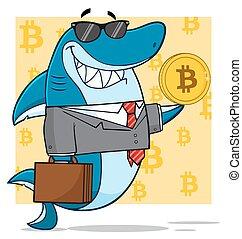 Shark Holding A Golden Bitcoin