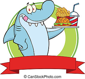 Shark Holding A Plate Label