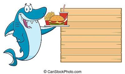 Shark Holding A Platter With Burger - Cute Blue Shark ...