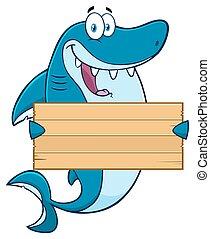 Shark Holding A Wooden Blank Sign