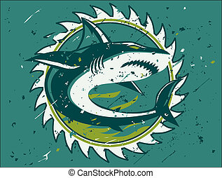 Shark Hunter Emblem - A design with a dangerous shark and...