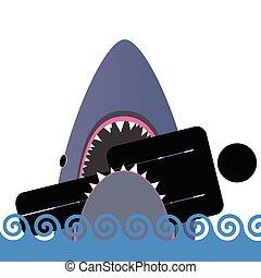 shark icon color vector illustration