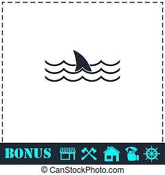 Shark icon flat