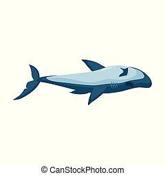 shark., icon., fundo, isolado, ícone, vetorial, caricatura, tubarão, branca