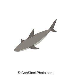 Shark icon, isometric 3d style