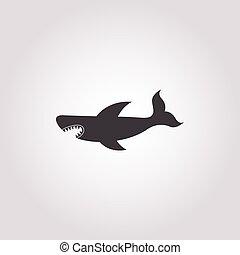 shark icon on white background
