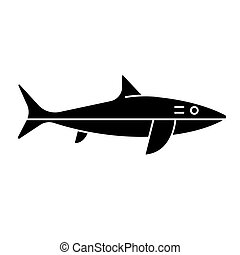 shark icon, vector illustration, black sign on isolated background