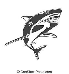 shark, icon, vector illustration