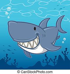 Shark - Vector illustration of Cartoon Shark