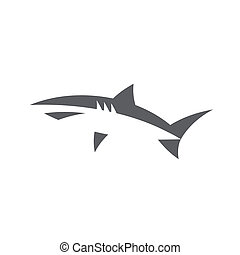 Shark in abstract minimal negative space logo design style ...