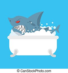 Shark in bath. Sea predator in bathroom. Vector illustration