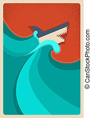Shark in blue sea.Vector poster background - Shark in sea...