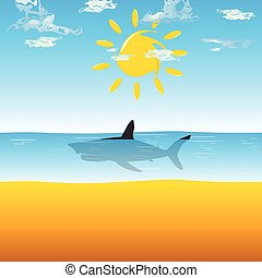 shark in ocean illustration