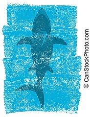 Shark in ocean waves.Vector underwater blue background...