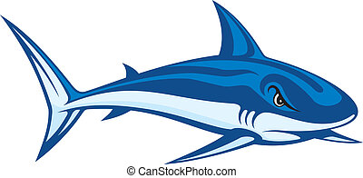 Shark lineart - Stylized blue cartoon illustration of a...