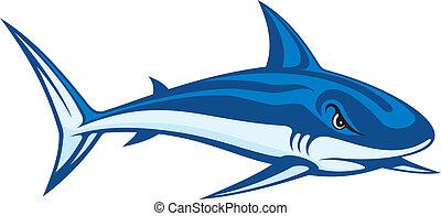 Shark lineart - Stylized blue cartoon illustration of a ...