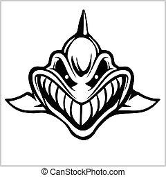 Shark logo for a sport team on white. Vector illustration
