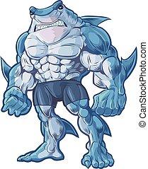 Vector cartoon clip art illustration of a muscular, tough, and mean looking anthropomorphic half shark, half man hybrid creature.