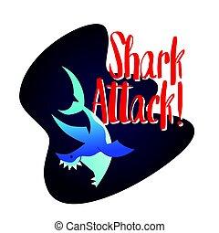 Shark - modern vector phrase flat illustration. Cartoon...