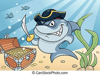 Shark pirate and treasure chest - Illustration of the...