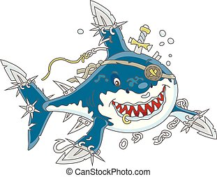Perfidiously smiling man-eater shark with fins sabers swimming, vector illustrations in a cartoon style