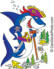 Shark Pirate - Great white shark wearing a pirate cap,...