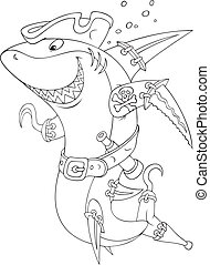 Shark pirate - Great white shark with a pirate hat, hook and...