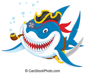 Shark pirate - Great white shark with a pirate saber, hat ...